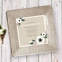 This custom made plate with their wedding invitation designed around it, really does make such a beautiful holiday gift and keepsake for any newlywed. From Glass Paper ScizzorsShop Now:    Custom Wedding Plateundefined