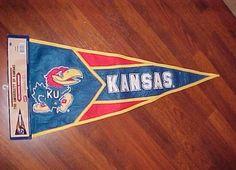 "Kansas Jayhawks Team Logo NCAA Big 12 Embroidered Pennant 14.5"" x 32"" 2003 New #NewCreativeEnterprises #KansasJayhawks"