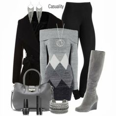 Winter Outfit gray and black what a winter scene winter beauty walking in the mist of the cold wind blowing....