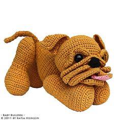 Baby Bulldog puppy pdf tutorial crochet pattern