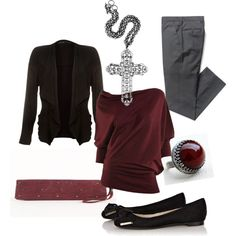 Casual work clothes in gray/wine - Polyvore