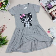 Baby Girl's Grey/Pink Dress with Adorable Cat Print. 1-8 Years Old.