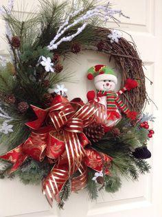 christmas wreath for door snowman wreath holiday wreathwinter wreathsnowflakeoutdoor christmas wreathfront door decorgrapevinered