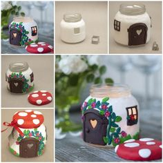 DIY Beautiful Mushroom House Candle Holder from a Jar   iCreativeIdeas.com Like Us on Facebook ==> https://www.facebook.com/icreativeideas