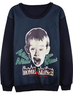 Blue Long Sleeve Boy Print Loose Sweatshirt US$31.97