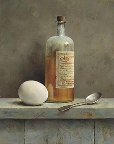"""Still Life With Bottle And Egg"" ... by Marius van Dokkum - Dutch Artist and Illustrator"