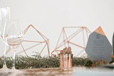 Table sculptures from Elsje Designs, Stellenbosch design studio:  www.elsje.co.za  #elsjedesigns #geometric #tabledecor #weddingdecor #stellenbosch #himmeli #tablesculptures  Photo:  Zara Zoo