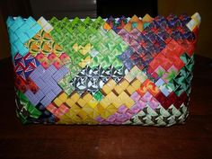 Duct Tape Purses, Paper Weaving, Thing 1, Snack Bags, Candy Wrappers, Candy Bags, Paper Beads, Origami, Recycling