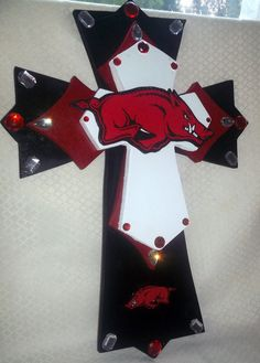 Beautiful Layered Wood Cross  ARKANSAS RAZORBACK on Etsy, $49.95