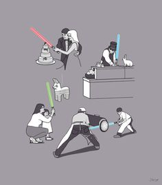 I really these uses for a lightsaber... especially the pinata! :)