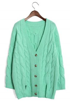 Mint Classic Cable Knit Cardigan.