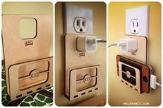 Le D-Charger / lit en bois pour iPod, iPhone wood bed charger holder
