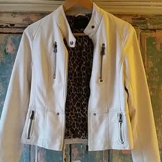REDUCED Gourgeous jacket synthetic leather Perfect condition...  almost new. i used only one time.  white distressed.  clean i bought it in boutique California Jackets & Coats Jean Jackets
