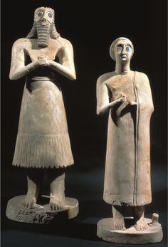 Statue of Votive figures from the Square Temple at Eshnunna Sumerian. 2700 B. Gypsum inland with shell and black limestone Surrogate for donor and offers constant prayer to deities. Placed in the Temple facing altar of the state gods Ancient Mesopotamia, Ancient Civilizations, Ap Art History 250, Statues, Gypse, Art Through The Ages, Cradle Of Civilization, Ancient Near East, Bagdad