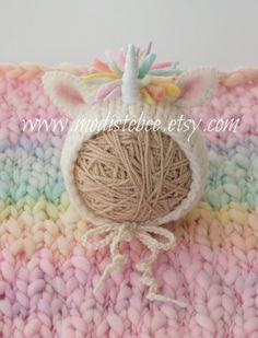 Unicorn Bonnet Newborn Photography Prop by ModisteBee on Etsy