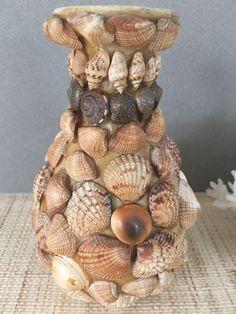 Vintage seashell vase | vintage seashell art | shell art | shell vase | seashell bud vase | seashell folk art | vintage shell folk art