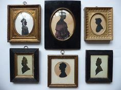 """Circle of John Miers (19th century): Portrait Silhouette of an Elegantly Dressed Lady, facing right, bearing a signature """"Miers"""", black ink and watercolour with some gilding, oval, 12.5cm by 9.5cm; and Five Further silhouettes, one depicting """"Lady Turner"""", three-quarter length, wearing Regency costume, facing right, and four ladies dressed in period costume, one oval, one circular, and one oblong, various sizes (6) - See more at: http://www.tennants.co.uk"""