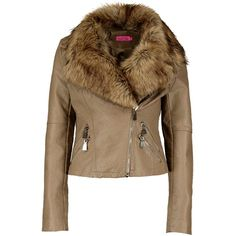 Boohoo Boutique Amy Shawl Faux Fur Collar Biker Jacket (4.460 RUB) ❤ liked on Polyvore featuring outerwear, jackets, motorcycle bomber jacket, brown bomber jacket, moto jacket, brown biker jacket и brown jacket