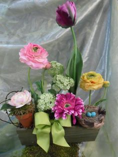 Beautiful Spring Mix Floral Arrangement by BluebelleBlooms on Etsy, $55.00