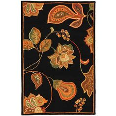 <li>Hand-hooked Autumn Leaves rug makes a stylish and durable addition to any setting <li>Rug presents a transitional design on pure virgin wool pile <li>Rug displays a black background with accents of orange