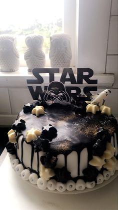 Chocolate Stars, Chocolate Ganache, Star Wars Birthday, 7th Birthday, Birthday Drip Cake, Star Wars 7, Buttercream Filling, Drip Cakes, Gold Glitter