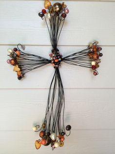 Hand made decorative beaded rustic wire crosses by CrossesbyElio, $65.00. My wonderfully talented neighbor!!! Very beautiful Elio :)