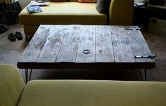 modern reclaimed wood coffee table with hairpin legs XL. $455.00, via Etsy.
