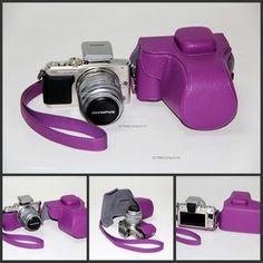 Leather Case Bag Olympus Pen E PM1 EPM1 Camera Black Brown White PURPLE14 42mm | eBay