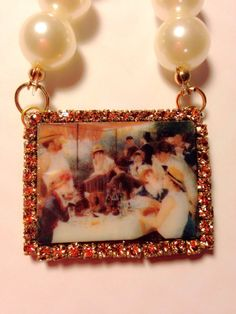 Famous painting Luncheon of the Boating Party by GirlyCutie #LuncheonOfTheBoatingParty #Necklace #StatementNecklace #Pearl #Resin #rhinestone #jewelry #handmade #painting #art #pearly #lunch #girlycutie #etsy #bib_necklace #amazing #love #FamousPainting #topaz