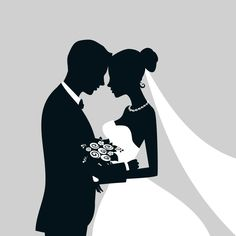 Bride And Groom Silhouette, Couple Silhouette, Wedding Silhouette, Silhouette Vector, Wallpaper Images Hd, Wallpaper Backgrounds, Wedding Ideias, Wedding Art, Embroidery Patterns