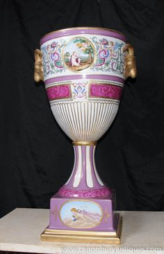 German Dresden Porcelain Urn Vase Rams Head Handles
