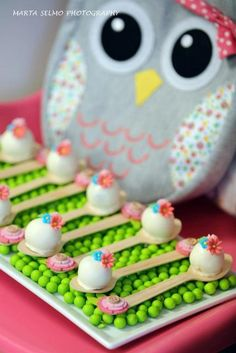 Candy on spoons at an Owl Party #owl #party