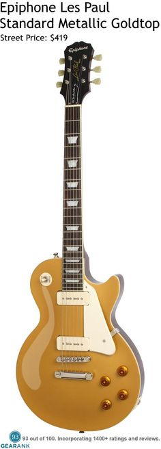 Epiphone Les Paul Standard - Metallic Goldtop. Of the many Les Paul clones in the market, the Epiphone Les Paul Standard lets you get as close as possible to the original Gibson version, while keeping the price affordable. For a detailed guide to Electric Guitars Under $500 see https://www.gearank.com/guides/solidbody-electric-guitars-under-500