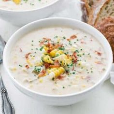 Learn how to make a delicious Corn Chowder Recipe for your next meal that comes together in under an hour. Serve it up with crispy bacon, green onions, and fresh basil. #chowder #corn #soup #stew Easy Corn Chowder, Corn Soup, Chowder Recipes, Soup Recipes, Turkey Recipes, Cioppino Recipe, Sauteed Vegetables, Thing 1, Best Chef