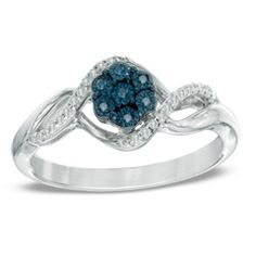 1/10 CT. T.W. Enhanced Blue and White Diamond Cluster Twist Ring in Sterling Silver - Size 7