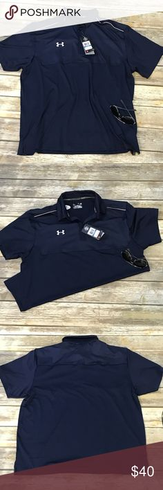 Under Armour new with tags X-large men's shirt. Under Armour men's shirt. Size extra large. New with tags. Blue with white embroidery. Three buttons on top. Under Armour Shirts
