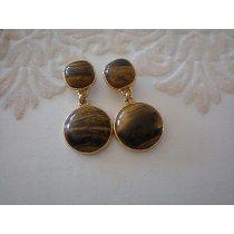 Brinco Pedra Natural Olho De Tigre Banhado A Ouro 18 K