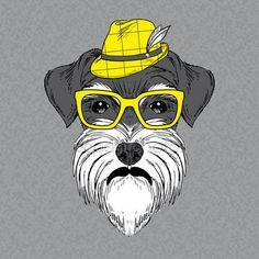 Скачать - Руки drawn вектор моды портрет Шнауцер — стоковая иллюстрация #33401557