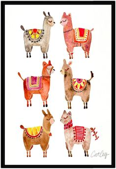 Americanflat Alpacas by Cat Coquillette (Framed Canvas)