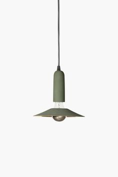 Zero pendant light shade in green and gold stoneware – love how the large bulb peeks through at the middle as well as the bottom |  Apparatu