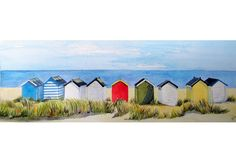 Original paintings prints and cards of the English seaside beach hut - in all the colours of the rainbow Beach Huts Art, Beach Scene Painting, Felt Pictures, Unique Paintings, Building Art, Sea Art, Naive Art, Beach Scenes, Watercolor Techniques