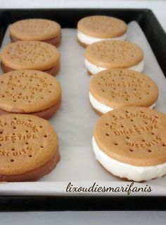 Παγωτό σάντουιτς χωρίς ζάχαρη! | Sokolatomania Sokolatomania Sandwiches, Cooking Recipes, Ice Cream, Sweets, Sugar, Cookies, Desserts, Food, Gym
