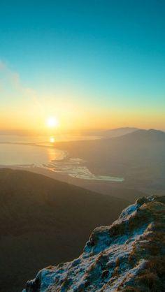 Mountains Sky Sunset Peaks #iphone #wallpaper