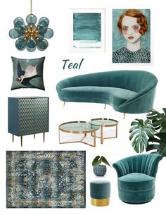Home shopping online moodboard teal, dark teal interior, dark teal decor trend, furniture teal, ital Dark Teal Living Room, Living Room Turquoise, Dark Teal Bedroom, Bedroom Neutral, Living Walls, Interiores Art Deco, Living Room Decor Items, Art Deco Living Room, Decor Room