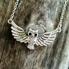 "Owl Necklace NWT Cute whitegold plating owl necklace with crystals.  8 1/2"" long approx.  Product info: *This product is generally made of metal alloy (silver and copper and other metal alloy) with high quality plating. Jewelry Necklaces"
