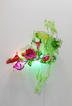 Judy Pfaff : Dragon Arum, 2011  Steel wires, various plastics & papers, shellacked Chinese paper, and fluorescent light