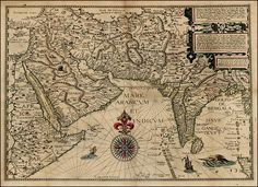 Antique Map of India, Persia, Arabian Penensula - Deliniantur in hac tabula, Orae maritimae Abexiae, freti Mecani By: Linschoten Date: 1596 Size: x Vintage Maps, Antique Maps, Horn Of Africa, India Map, Tambour Embroidery, History Of India, Star Chart, Old Maps, Textiles