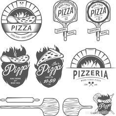 Vintage pizza logos design vectors free vector download