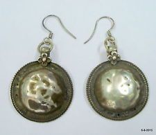 vintage antique tribal old silver earrings gypsy hippie jewelry india