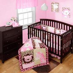 Monkey Nursery Bedding Elephant Baby Girl 6pc Monkey